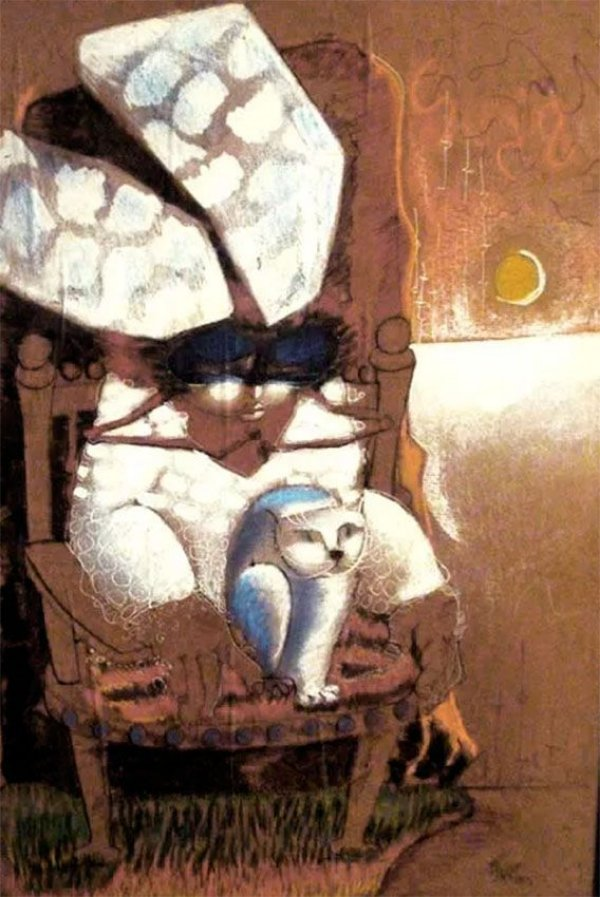 Helenos - Gato,  Quadro, Pintura Estilo Vinil Colado sobre Eucatex, Assinada, de 1975