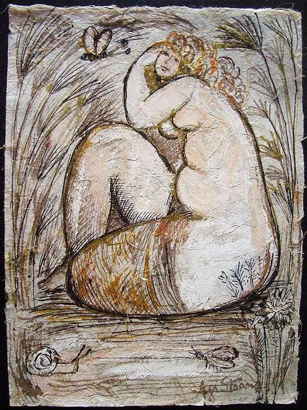 Agi Straus - Pintura de Mulher,  Nu Feminino em Técnica Mista sobre Papel Artesanal, Assinada