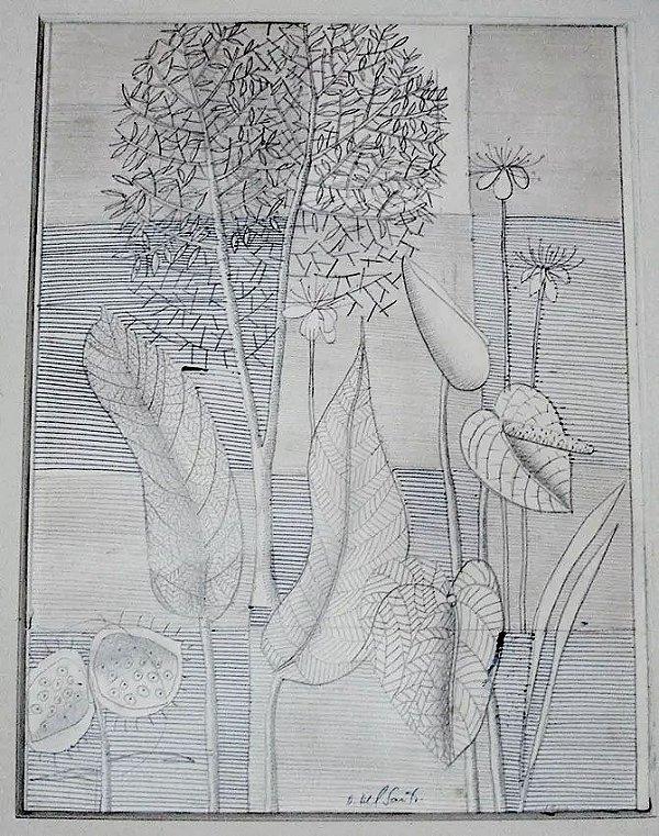 Dionisio Del Santo - Quadro, Desenho Cinético a Lápis e Caneta, Emoldurado
