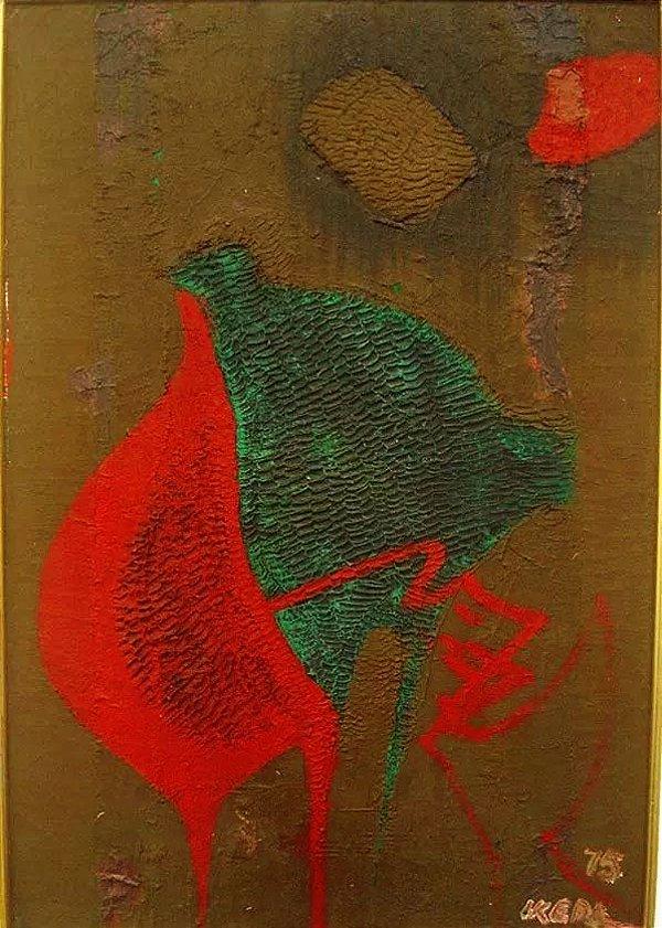Mário Kazuo Ikeda - Quadro, Pintura Óleo S/ Tela  Titulado Lua Cheia, Assinado, de 1975