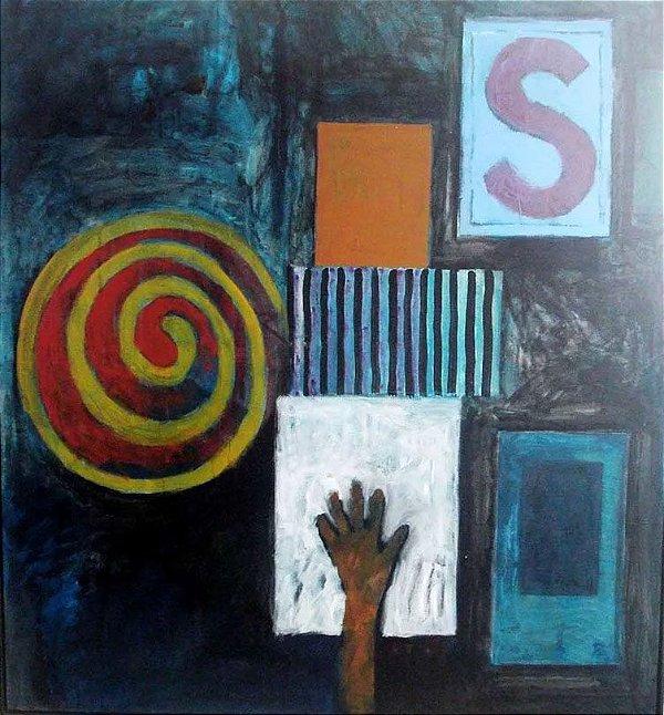 Mario Fiore - Quadro, Pintura Acrílica e Pastel S/ Tela Titulado Semiótica, 1989 - 1,15 x 1,25 m
