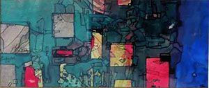 Paulo Ludmer - Quadro, Pintura Geométrico Aquarela e Nanquim de 1966, Assinado
