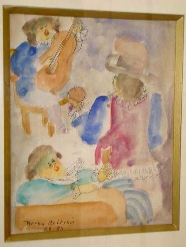 Norha Beltran - Quadro, Pintura Aquarela de 1984, Sarau Musical