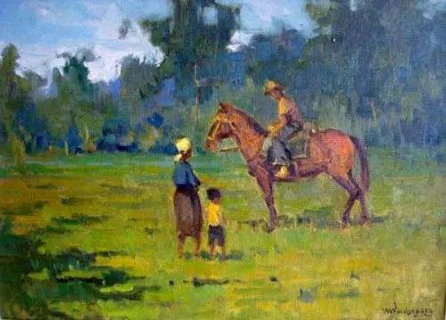 Menase Waidergorn - Quadro, Pintura Óleo sobre Tela, Cena Rural, Emoldurado