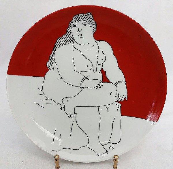 Maria Augusta Rebouças - Prato Decorativo, Pintado a Mão, Vermelho, Coleção Botero