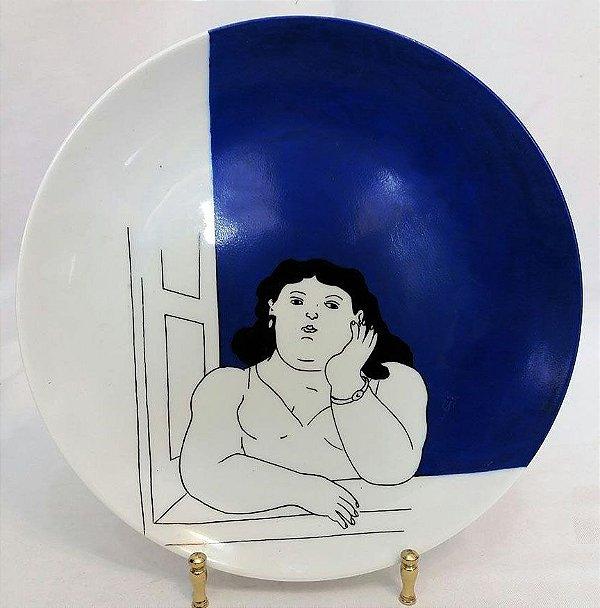 Maria Augusta Rebouças - Prato Decorado Pintado Mão, Azul, Botero