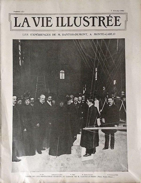 Santos Dumont e Imperatriz Eugénie em Monte Carlo - Jornal Frances La Vie Illustré, Original 1902