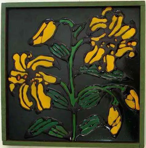 Toshie Nagamori,  Quadro Pintura em Técnica Mista, Flores,  Assinada 1971, Emoldurada