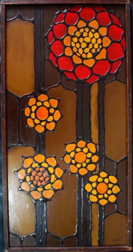 Toshie Nagamori - Quadro, Pintura Acrílica S/ Eucatex de 1971,  62x32cm, Emoldurado