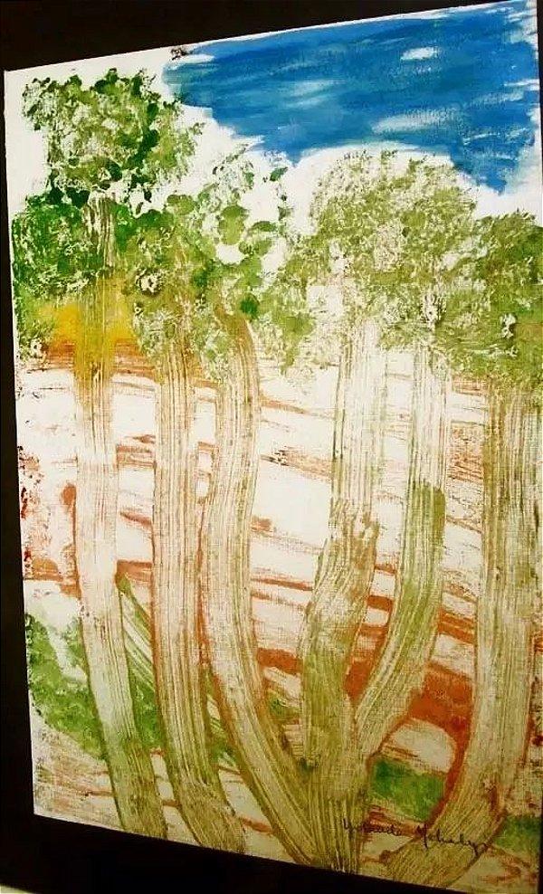 Yolanda Mohalyi - Quadro, Arte, Pintura em Monotipia Original Assinada, 40x30cm, Emoldurada