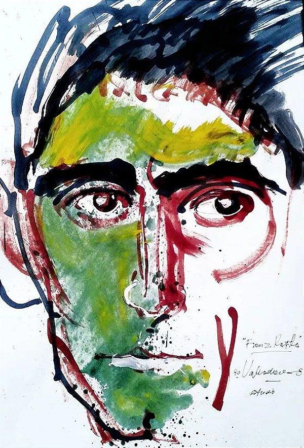 Edmund Valladares -  Arte, Quadro Pintura,  Kafka, Aquarela Assinada, 47x32cm