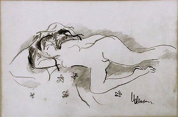 Edmund Valladares - Quadro, Desenho Nu Feminino Assinado, Emoldurado