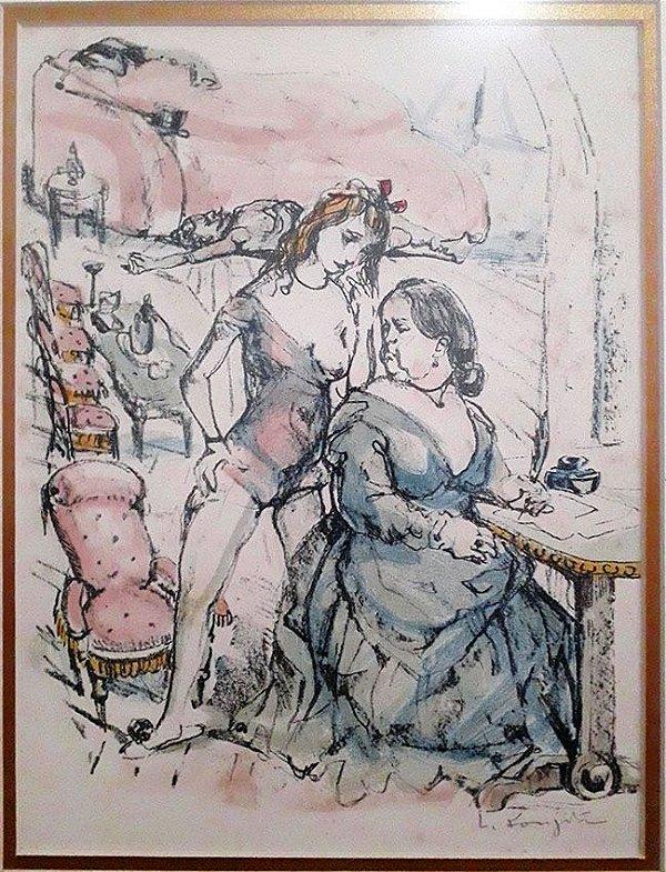 FOUJITA, TSUGUHARU - Quadro, Pintura Técnica Mista, Arte em Pastel e Aquarela, Original