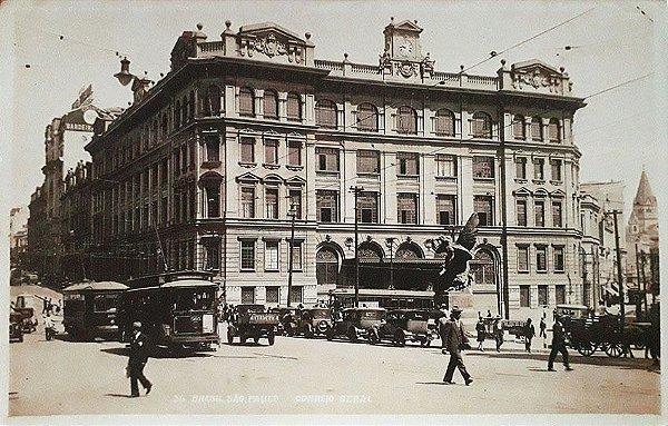 São Paulo - Postal Antigo dos Correios, Movimento de Bonde, Onibus, Carros e Pessoas