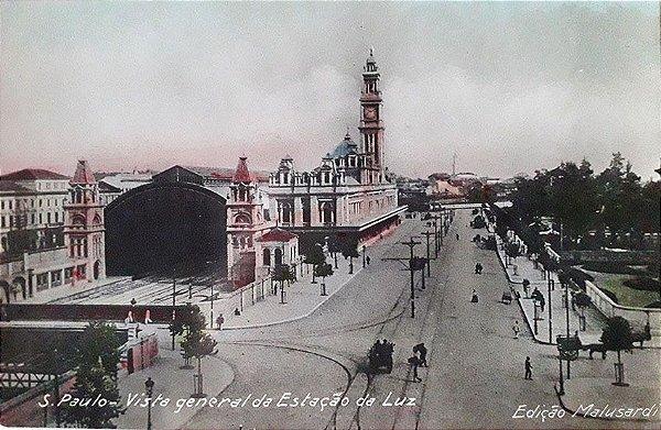 São Paulo, Cartão Postal Antigo Original, Estação Da Luz, Entorno Com Carroças