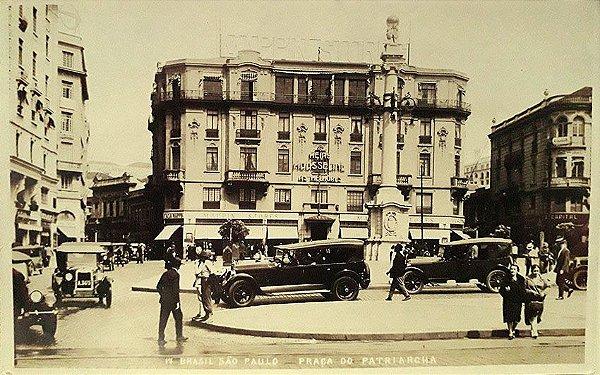 São Paulo, Cartão Postal Antigo Praça do Patriarca, Mappin Stores, Movimento de Carros e Pessoas