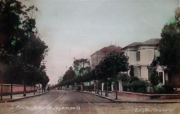 São Paulo, Cartão Postal Antigo da Av. Higienópolis com Trilhos de Bondes