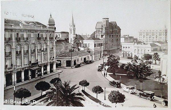 São Paulo, Cartão Postal Antigo do Largo do Paissandú e Hotel Suisso