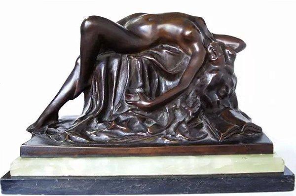 """Decio Villares - Escultura em Bronze, Titulada """"Ariadne"""", Estilo e Época Art Nouveau, Fundição Abetta, RJ"""