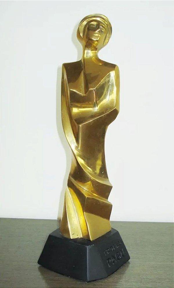Chico Melo - Escultura em Bronze, Troféu Pagú, Assinada