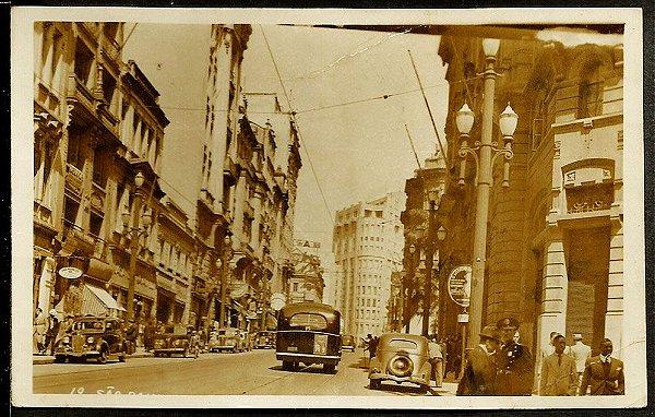 São Paulo, Centro, Cartão Postal Antigo Original, Movimento de Carros, Ônibus e Pessoas