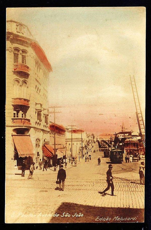 São Paulo Cartão Postal Antigo Bonde E Pedestres Av São João