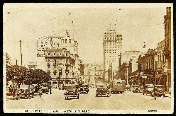 São Paulo Cartão Postal Antigo Carros Pedestres Av São João