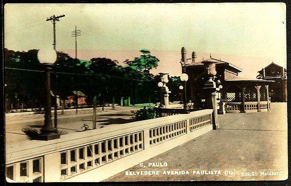 São Paulo, Cartão Postal Antigo do Trianon e Belvedere da Av. Paulista