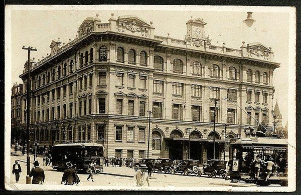 São Paulo, Cartão Postal Antigo Original, Prédio do Correio Geral,  Bondes Carros Pedestres
