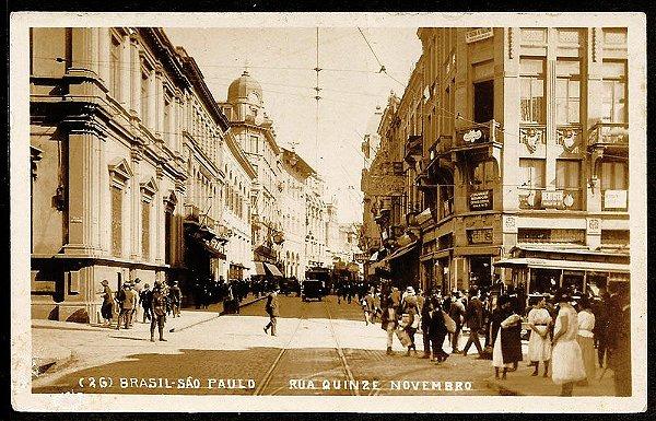 São Paulo - Cartão Postal Antigo Original, Rua 15 Novembro com Bonde e Carros