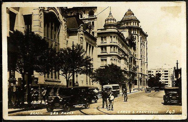 São Paulo - Cartão Postal Antigo Original, Largo de S. Francisco, Ônibus e Carros