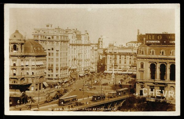São Paulo - Cartão Postal Antigo Original,  Praça do Patriarca com Bondes