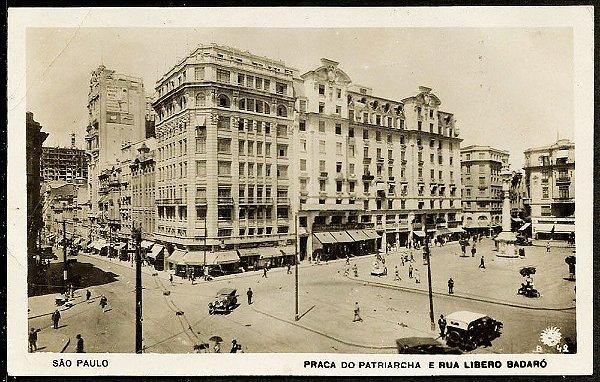 São Paulo - Cartão Postal Antigo Original, Praça Patriarca com Rua Libero Badaró