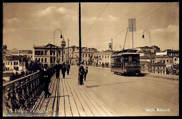 São Paulo - Cartão Postal Antigo Original, Viaduto Do Chá Com Bonde e Pedestres