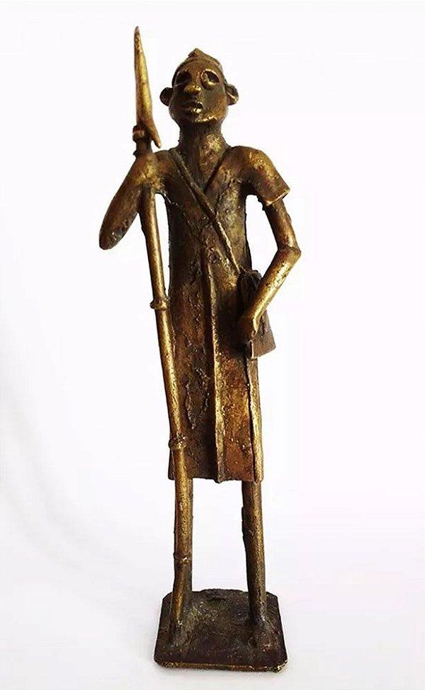 Escultura em Bronze, Guerreiro Africano, Nigéria