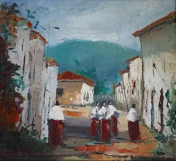 Raffaele Gorizia - Quadro, Arte em Pintura Titulada Missionários, Óleo sobre Tela, Assinada