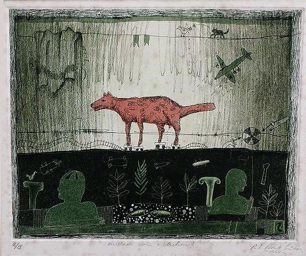 """Paulo Roberto Lisboa - Arte em Gravura Original Titulada """"Cuidado com o Cachorro"""", Assinada, Emoldurada"""