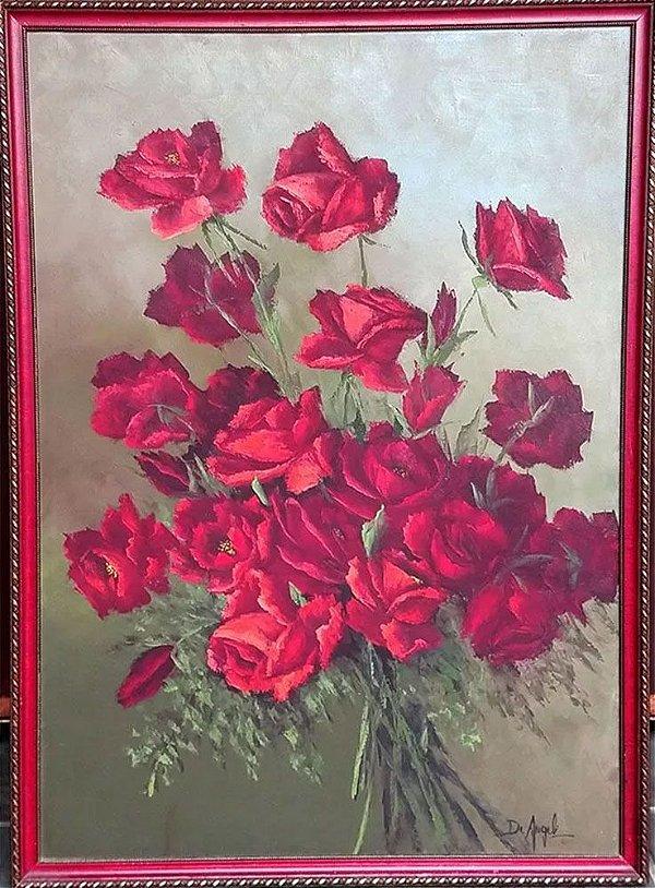 Leonice T. De Angeli - Quadro, Arte,  Pintura Óleo sobre Tela, Assinado, Motivo Floral
