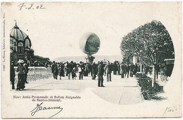 Santos Dumont - Nice, França, Passeio no Cais e Balão Dirigível - Cartão Postal Antigo, Circulado em 1902 - Aviação