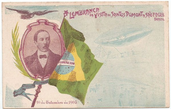 Santos Dumont - Raro Cartão Postal Antigo da Lembrança da Visita a São Paulo em 1903 - Grus Aus