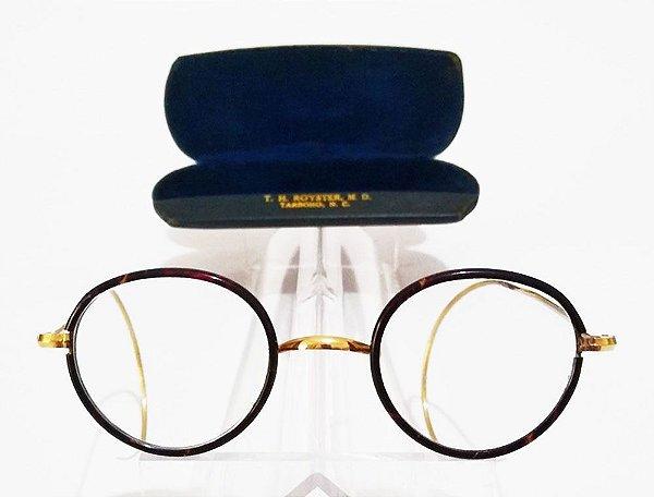 Par de Óculos Originais Antigos em Ouro 1/10 - Algha Royster, USA - Estojo Original
