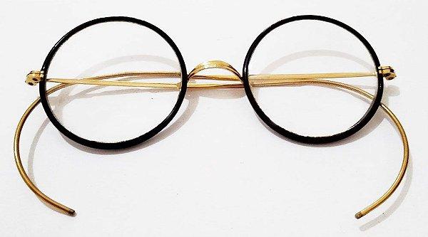 Par de Óculos Antigos em Ouro 1/10 - Windsor,  Estilo Harry Porter - No Estojo Original
