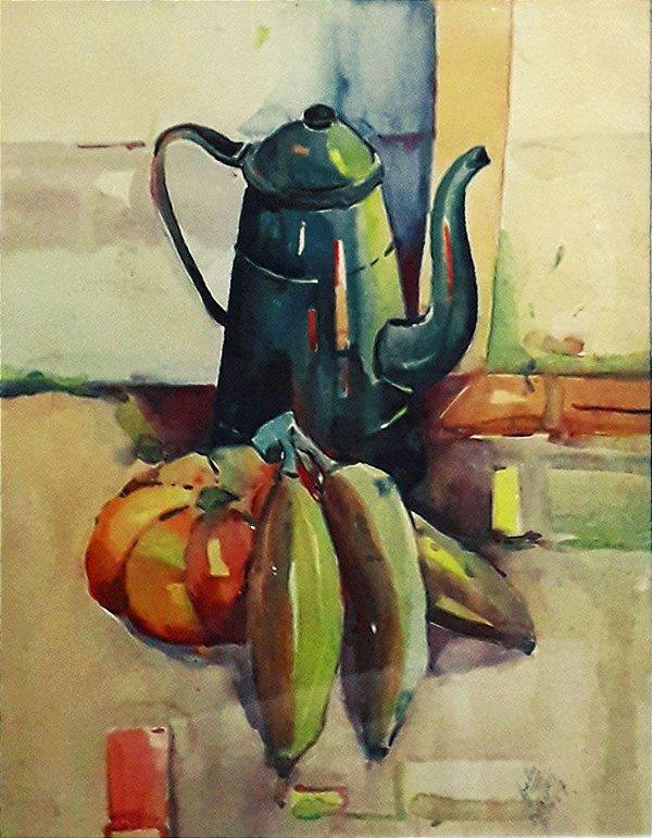 João Kozo Suzuki - Quadro,  Pintura Arte em Aquarela, Bule e Frutas
