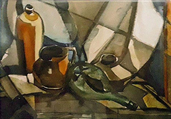 João Kozo Suzuki - Arte Quadro Pintura em Aquarela, Natureza Morta, Emoldurada 87x68cm