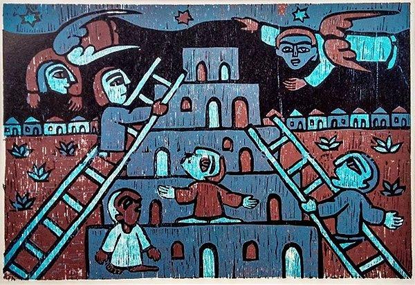 Raimundo de Oliveira - Quadro, Arte em Xilogravura, A Pequena Bíiblia