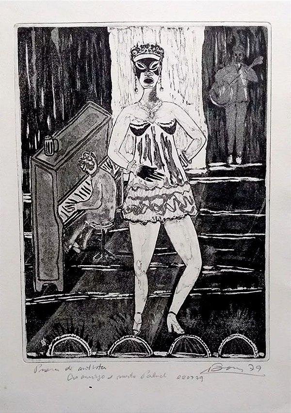 Boris Arrivabene - Gravura, Xilogravura de Josephine Baker no Palco