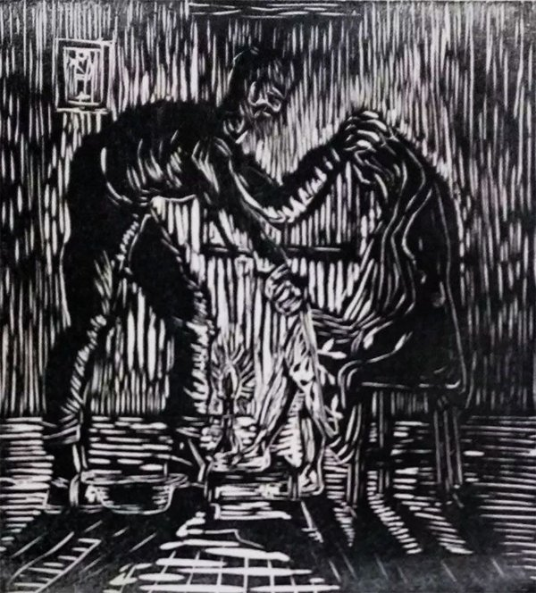 Zenon Barreto - Arte em Gravura, Xilogravura  Curandeiro de Itaitinga