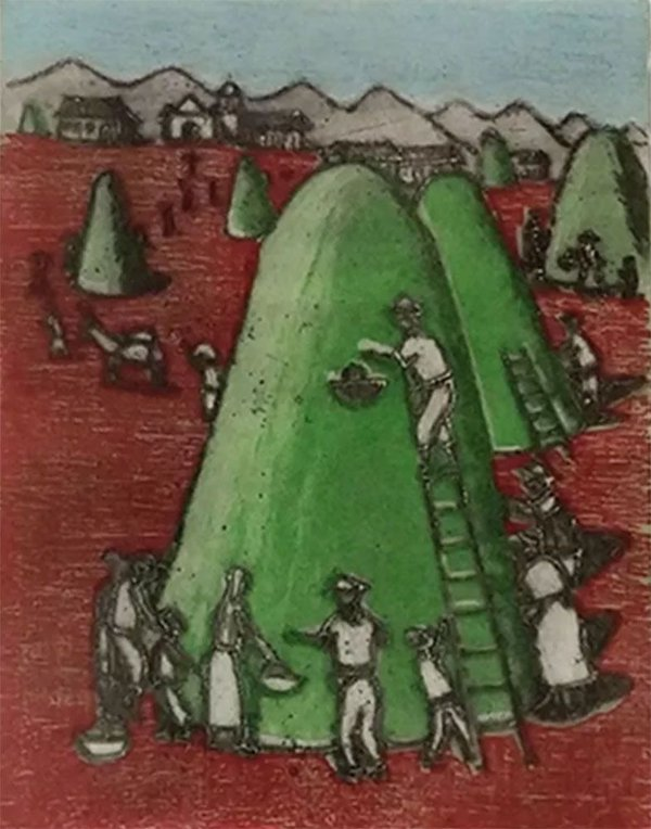 Fulvio Pennacchi - Arte em Gravura Original, Assinada a Lápis, Emoldurada
