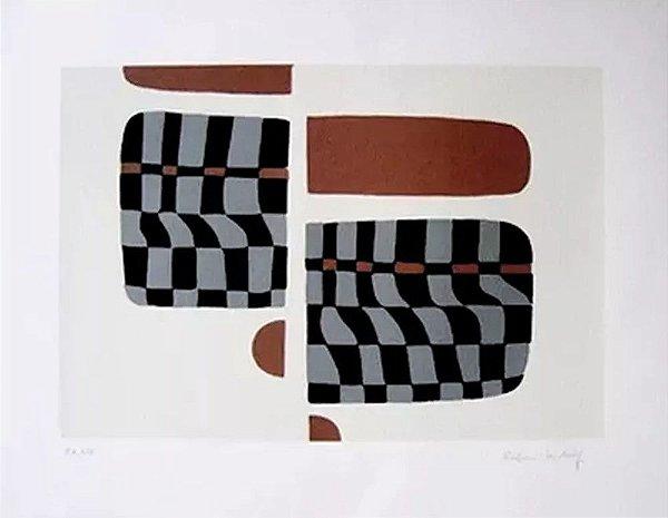 Rubem Ludolf - Arte em Gravura, Prova de Impressão, Serigrafia Assinada e Numerada, Figura Geométrica