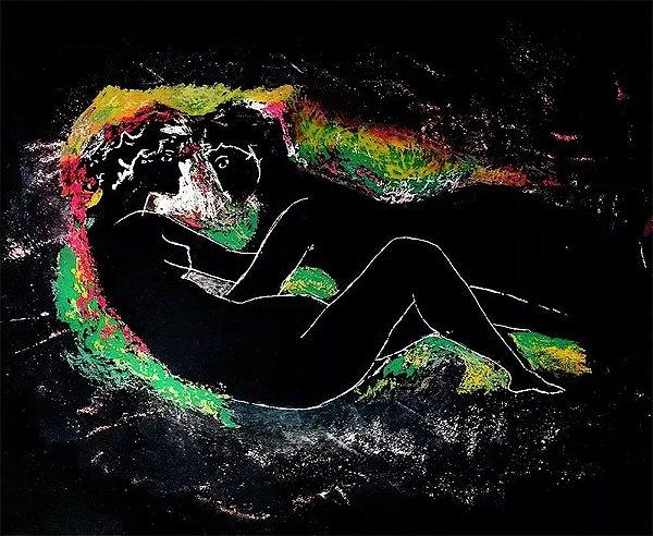 Augusto Rodrigues - Arte em Gravura, Representação de Casal, Assinada